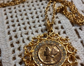 Colorized 1941 Mercury Dime Pendant and Chain