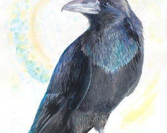 Raven Magic Original Watercolor Painting on Arches Paper