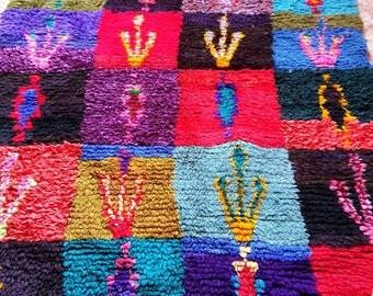 Moroccan Vintage Hand Woven Boucherouite Rug ( 1,70 x 1,25 m )