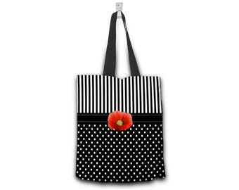 Dots and Stripes with Poppy Canvas Tote Bag