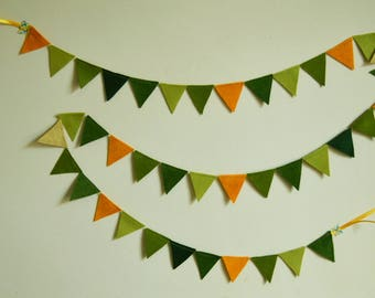 Mini Felt Bunting, Mini Felt Garland, Wall Hanging, Home Decor, Party Decor, Green, Yellow, Party Garland, Mini Pennant, Nature-Inspired