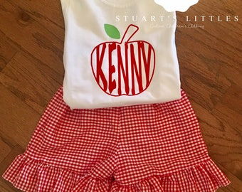 Personalized Back to School Outfit with Ruffle Shorts