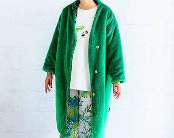 Vegan fur coat- teddy bear jacket- plush jacket- faux fur jacket- green fur coat- furry jacket- reversible coat- custom made coat- maxi coat