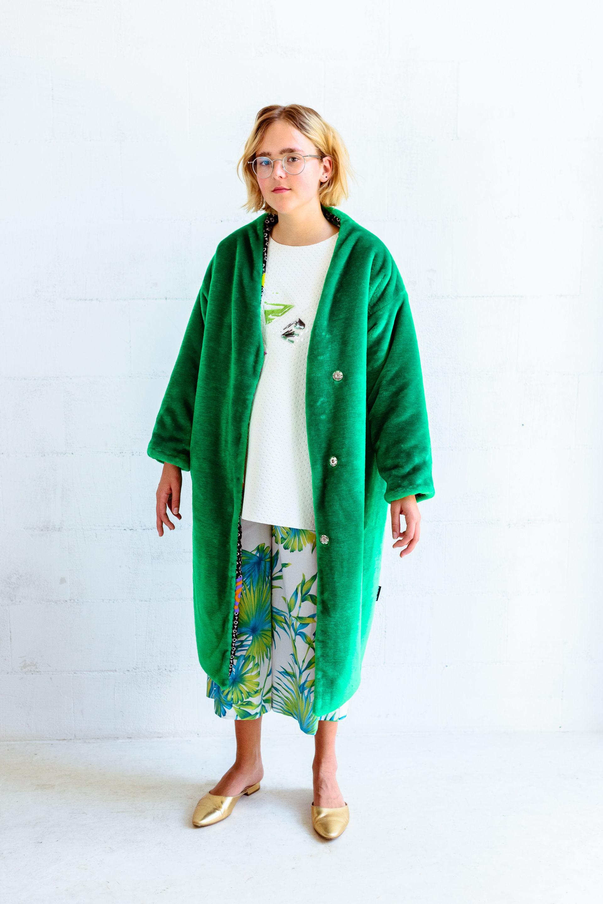 teddy bear coat green unisex fur faux fur jacket soft winter. Black Bedroom Furniture Sets. Home Design Ideas