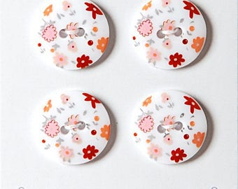 Set of 4 pink liberty style 18 mm - sewing button white button pink small flower - button decorative small flowers on white background