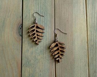 Wood earrings,boho earrings,wooden jewelry,everyday earrings,wood earrings dangling