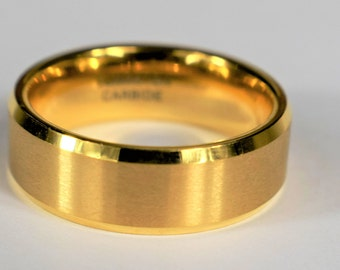 8mm Gold Tungsten Wedding Ring,  Gold Plated  Tungsten Ring Tungsten Wedding Band, Tungsten Carbide Wedding Ring