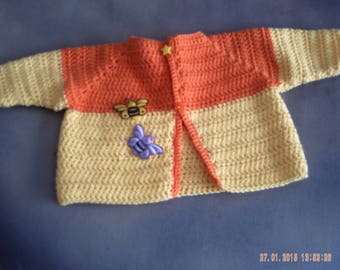 Orange and yellow cotton newborn Cardigan