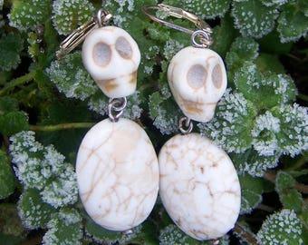 beige howlite skull earrings