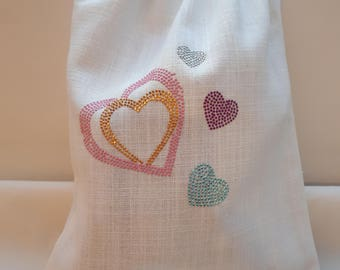 Valentine's day: Hearts and linen lingerie bag