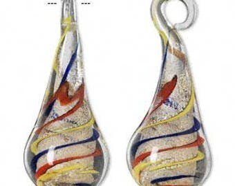Focal, lampworked glass, clear/red/yellow/blue/orange with silver-colored glitter