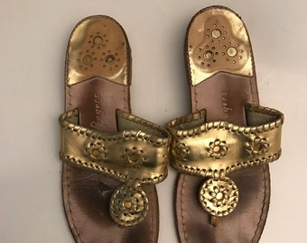 Jack Rogers Women's Gold Sandals Size 7.5