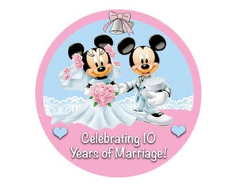 Customized Mickey and Minnie Anniversary Button - Marriage Button - Theme Park Pin - Disney Park Button - Disney Honeymoon Pin
