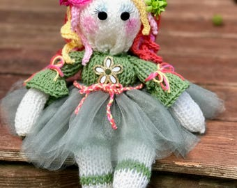Rose! Knitted Handcrafted Doll