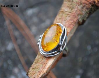 Vintage Amber Ring 019 - amber ring - Baltic amber - 925 silver - vintage ring -boho - amber jewelry - Polish amber ring - oval amber ring