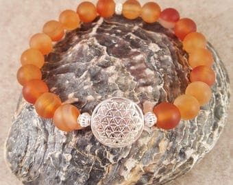 Mala chain for it's wrist from carnelian and the Flower of life, 925 silver