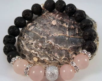 Gemstone bracelet made of lava, rose Quartz, Stardustperle and Strassrondelle