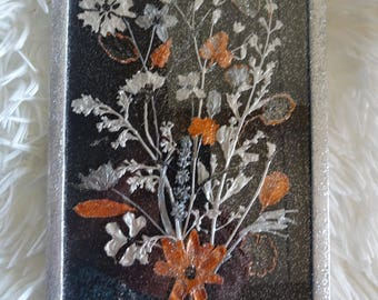 Frame 14 x 19 cm natural Herbarium reworked painting Pearly black / gold