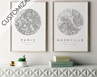 Personalized Map Print, Custom Wedding Gift, Map Print, Custom Locations, Your Choice, Anniversary, Custom Map, Home Town Map, City Map