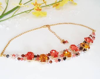 "Choker necklace Cabochons shiny and tops Swarovski color Padparadscha and Topaz necklace Elegant short ""Choker"""