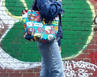 Reversible Bag, Two In One Bag, Library Bag, School Bag, Tote Bag in Star Wars Fabrics