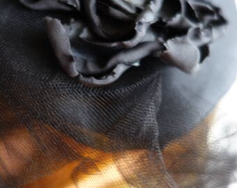 Black satin flower fascinator with veil