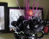 Handmade Teapot Centerpiece - #1 - Black Roses/Witches Accents - Witches Tea/Bridal Shower/Halloween Party