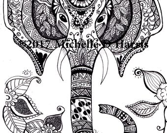Zentangle Elephant Print, Mandala Elephant Print, , Elephant Wall Art, Zentangle Elephant Drawing, Black & White Elephant Drawing,  Zen Art,