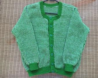 Sweater, cardigan, handmade, knitted, green, honeycomb,