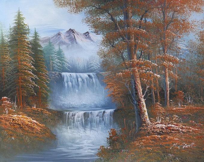 Mountain Stream Art Nature Tree Painting Waterfalls Oil on Canvas Wall Art Beautiful Decor