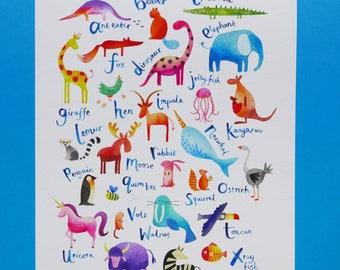 Animal Alphabet illustrated nursery print. Ideal children's wall art, decor