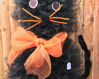 Cat Wreath - Halloween Wreath - Halloween Cat Wreath - Fall Wreath - Decomesh Wreath - Front Door Wreath