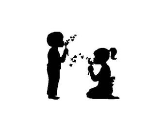 Boy and Girl Dandelion silhouetted comes in 5X7 in 10 formats