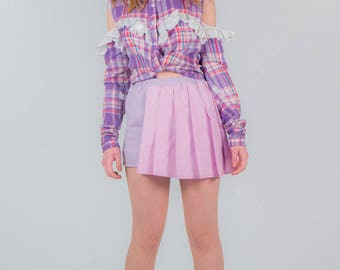 Candy floss Pleated stretch Mini skirt