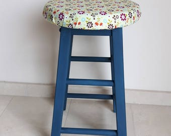 Hand made blue wooden stool with padding