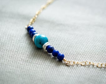 Genuine Turquoise Necklace, Lapis Lazuli Necklace, Thai Hill Tribe Silver, 14kt Gold Filled, December Birthstone, Bar Necklace, Minimalist