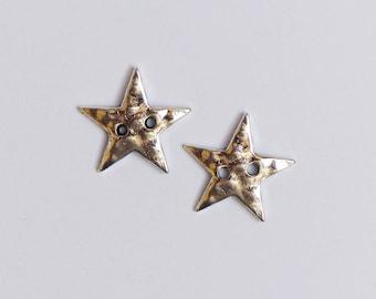 set of 4 metal buttons * Star * 2.1 cm