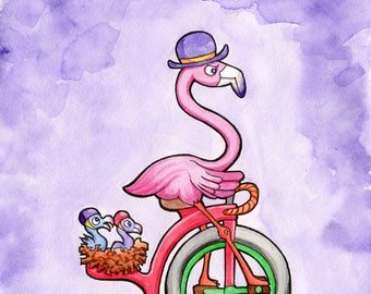 Flamingo family on a penny farthing