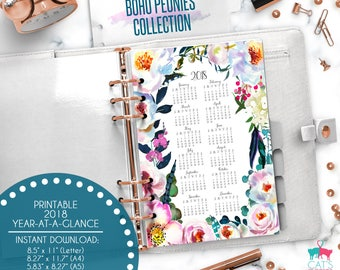 Printable Calendar A5 A4 Letter Watercolor Planners 2018 Year at a Glance | Boho Peonies Floral Collection | BPCYG18