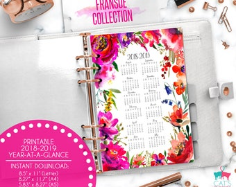 Printable Calendar A5 A4 Letter Watercolor Planners 2018-2019 Year at a Glance | Fransue Floral Collection | FRCYG1819