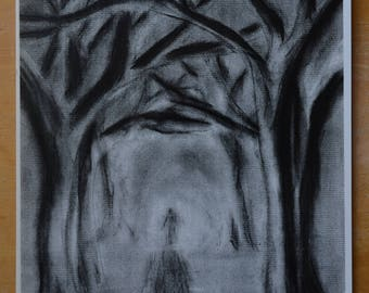 Original Art Print: Through the Darkness, Abstract, Mysterious, Haunting, Dark Art, Creepy Art, Not All Who Wander are Lost