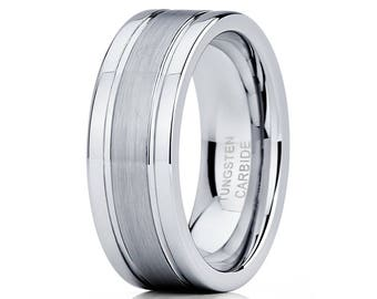 Grey Tungsten Wedding Band Brush Center Tungsten Ring Men & Women Tungsten Carbide Ring Anniversary Ring