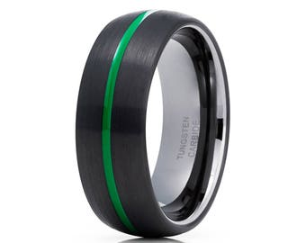 Green Tungsten Wedding Band Gunmetal Tungsten Ring Dome Tungsten Wedding Band Men & Women Black Tungsten Wedding Band
