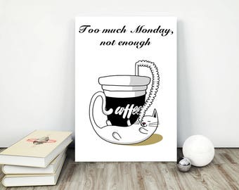 coffee quote poster, coffee printable, coffee poster, coffee typography, coffee quote print, printable coffee art, coffee addict