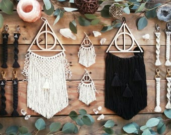 Deathly Hallows Dreamcatcher | Harry Potter Decor | Macrame | Dreamcatcher | Home Decor | Wall Art | Wall Hanging | Boho | Bohemian