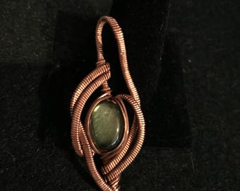 Copper Wire Wrapped Labradorite Pendant