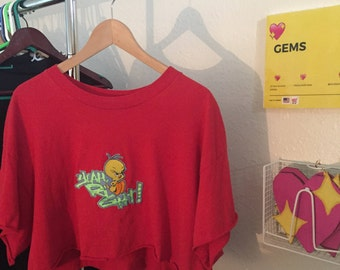 "Tweety Bird Croptop ""Yeah Right"" 90s"