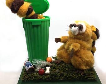 Mischievous Raccoons, Trash Pandas Diorama / Pom Poms *green*