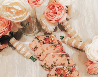 Rustic Bridesmaid Bouquet Set, Pink and Beige Wedding Bouquets