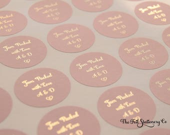 Jam Wedding Stickers, Foil Wedding Stickers, Jam Packed with Love Stickers, Favour Labels, Foil Stickers, Jam Stickers, 25mm 1 inch